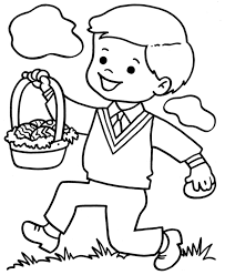 Little Boy With Easter Egg Coloring Page For Preschool Easter