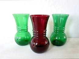 vintage glass vases 3 anchor hocking glass vase 2 forest green 1 royal ruby red vintage