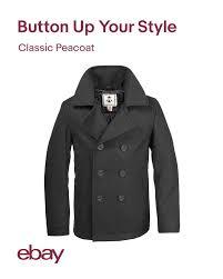 Usn Pea Coat Size Chart Details About Mens Coat Wool Us Navy Type Pea Coat Black
