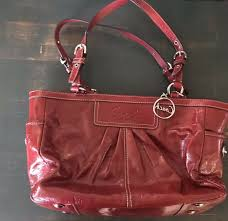 coach purse large tote red patent leather