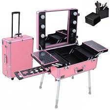 rolling cosmetic case outstanding makeup case with lightirror diy