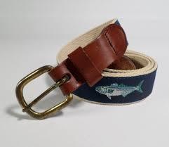 details about leather man ltd canvas ribbon belt leather bluefish fish fishing blue 40 usa