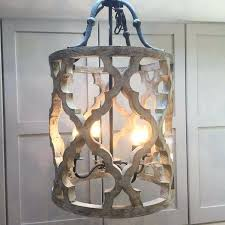 wood and iron chandelier 4 light white distressed by on dream house lights and shabby chic lighting