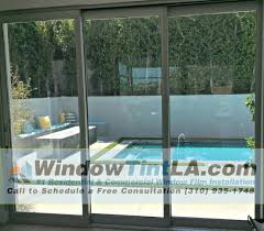 before window tint was applied to sliding door
