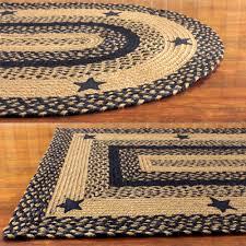 black and tan braided rug with stars primitive country oval rectangle 20x30 5x8 com