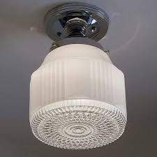 836 vintage art deco ceiling light lamp fixture glass bath hall porch kitchen madeinusa