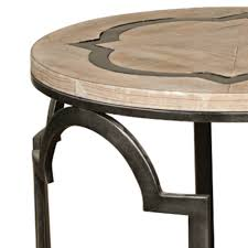 estelle reclaimed wood round end table in washed gray
