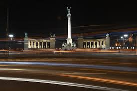 highlight lighting. A View Of The Millennium Monument, A Landmark Hungarian Capital With  Its Illumination Highlight Lighting H