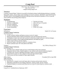 Computer Repair Technician resume example