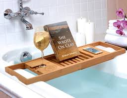 wooden bath caddy with book holder