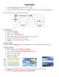 Speed Of Light And Wavelength Light Notes