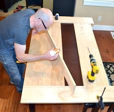 easy DIY planked farm style table top that will cover your existing table  to create a