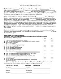 Tattoo Release Form Mesmerizing Tattoo Consent Form And Body Piercing Packet 44x44 Wondrous