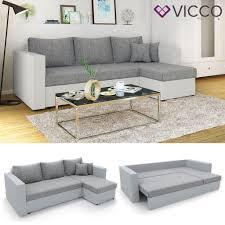 Ecksofa Mit Schlaffunktion Sofa Couch Schlafsofa Polsterecke Bettfunktion Taschenfederkern Weiß Grau