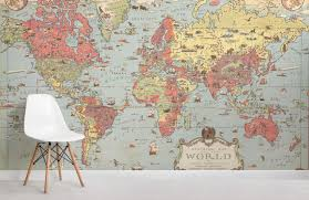 kids vintage world map room wall murals
