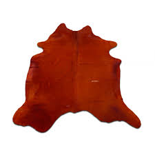 orange cowhide rug size 6 5 x 6 7 ft dyed orange cowhide skin rug