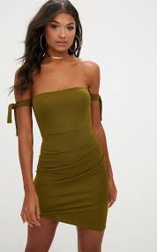 Olive Green Tie Sleeve Ruched Asymmetric Bandeau Bodycon Dress