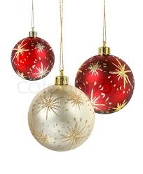 hanging christmas ornaments background. Wonderful Christmas Red And Gold Matte Christmas Decoration Balls Hanging On White Background   Stock Photo Colourbox Inside Hanging Christmas Ornaments Background R
