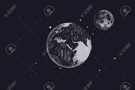 宇宙空間で満月の地球手描きの背景イラスト