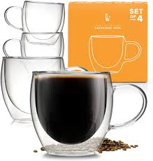 8 ounces of brewed coffee is pretty standard coffee quantity which majority of coffee lovers consume at any given time. Amazon Com Insulated Coffee Mug With Handle Borosilicate Glass Coffee Cups And Tea Cups Double Walled Glass Coffee Mugs For Women And Men Set Of 4 8oz Coffee Cups Mugs