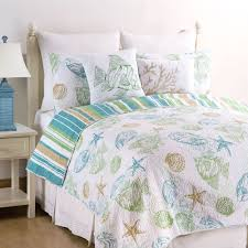 Seashell Bedroom Decor Reef Point Fish Seashell Coastal Quilt Set