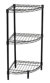 corner wire shelving. Exellent Wire Internetu0027s Best 3Tier Corner Wire Shelving  Black Heavy Duty Shelf  Adjustable Throughout