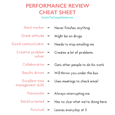 Performance Review Cheat Sheet