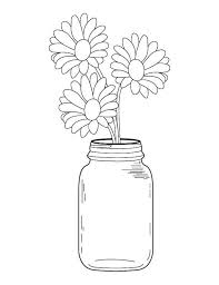 Small Picture Mason Jar Daisy Bouquet Coloring Page