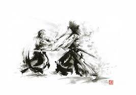 samurai painting samurai sword bushido katana martial arts budo sumi e original ink sword