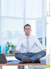meditation businessman office. Zen Businessman Doing Yoga Meditation On The Desk Office I