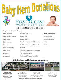 list of items needed for baby baby item donation list first coast womens services