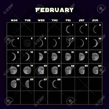 Moon Chart Calendar 2019 Moon Phases Calendar For 2019 With Realistic Moon February