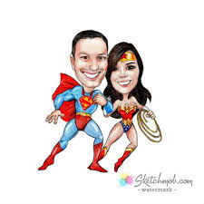 Personalized Superheroes Custom Personalized Superhero Portrait Caricature From Photo