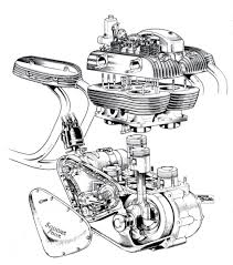 How bike engine works with diagram awesome ariel square four cutaway bikes pinterest