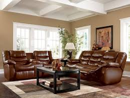 Living Room Color With Brown Furniture Living Room White Shelves Gray Sofa Brown Chairs Gray Recliners