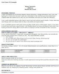 Student Cv Template For First Job First Cv Rome Fontanacountryinn Com
