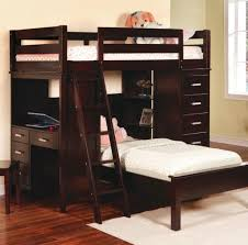 Bedroom: Veneered Bunk Bed With Desk Underneath And Stairs - Cool Bunk Beds  With Desk