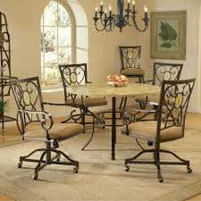 ... Dining Chairs, Brookside Metal Round Kitchen Dinette Dining Room Chairs  On Wheels With Casters Design ...