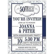 50th Anniversary Party Invitations Amazon Com Blue Ornamental 50th Wedding Anniversary Party