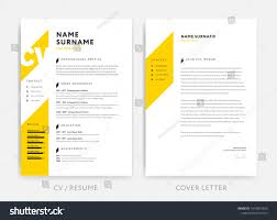 Yellow Cv Curriculum Vitae Cover Letter Stock Vector 1042891033