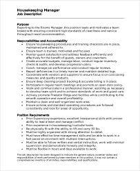 housekeeping manager job description housekeeping job duties