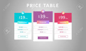 Pricing Template For Services Price Table Template Three Tariff Plans For Cloud Service Web