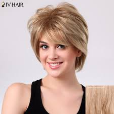 57 Off Short Shaggy Layered Side Bang Straight Siv Human Hair Wig