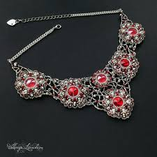 Красное <b>колье</b> из бисера с кристаллами <b>сваровски</b>, ажурное ...