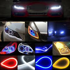 How To Install Flex Led Lights In Car Us 5 46 36 Off Flexible 2pc Signal Light 45cm 60cm Car Soft Tube Guide Led Strip Light Drl Daytime Running Headlight Turn Signal Waterproof In Led