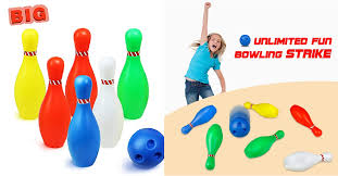 yoptote bowling set outdoor plastic bowling ball set educational party favors toys 7 piece big size 8 94