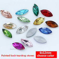 20pcs 6x12mm crystal Rhinestone Faceted Pointed Back Jewels ...