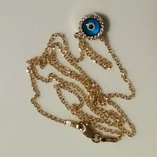 9ct gold evil eye double sided necklace