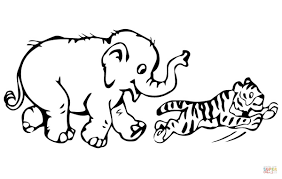 Small Picture Tiger Cub Plays with Baby Elephant coloring page Free Printable