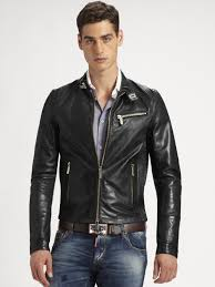 lyst dsquared² leather biker jacket in black for men
